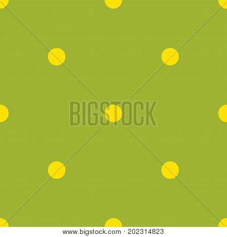 Yellow Polka Dots Seamless Pattern On Green Background. Fine Classic Yellow Polka Dots Textile Patte