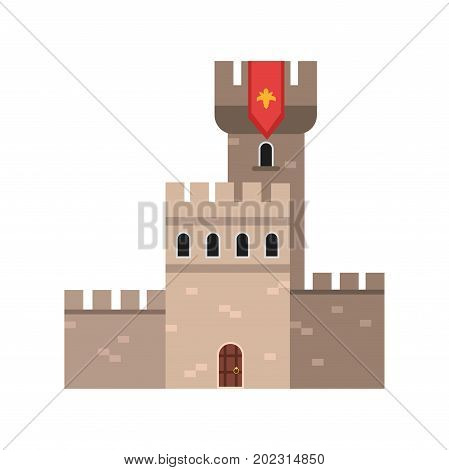 Ancient stone fortification castle, medieval architecture building vector Illustration on a white background