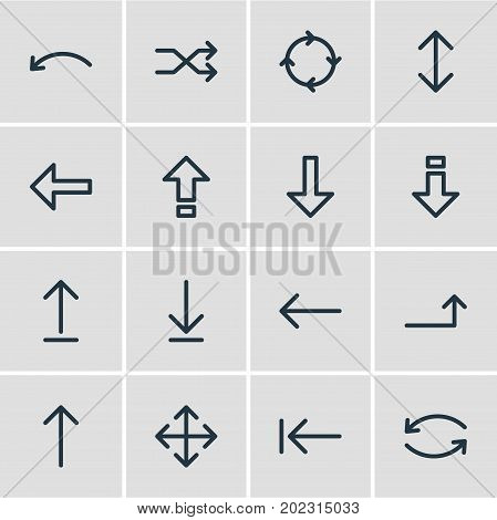 Editable Pack Of Left, Shrift, Circle And Other Elements.  Vector Illustration Of 16 Direction Icons.