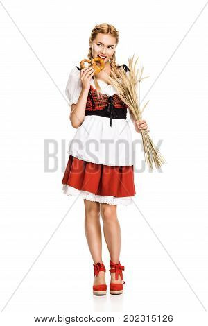 Girl With Pretzel And Wheat Ears