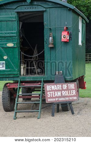 Norfolk United Kingdom August 21 2017: Old guard carriage used with steam roller