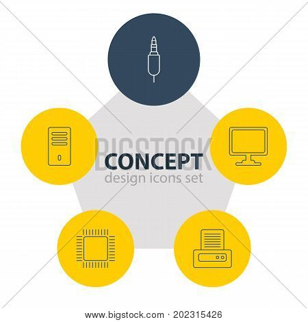 Editable Pack Of Microprocessor, Printer, Screen And Other Elements.  Vector Illustration Of 5 Computer Icons.