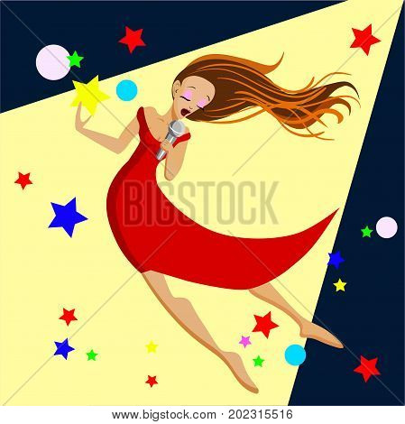 Singing girl in red dress. Pop singer Vector illustration flat cartoon illustration isolated on light yellow background.