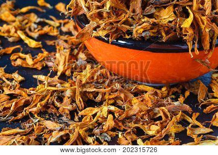 Georgian false Saffron in bowl closeup view