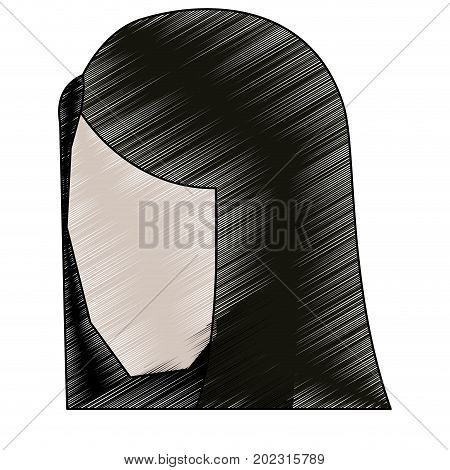 woman head faceless with straight long hair pencils to colored silhouette vector illustration