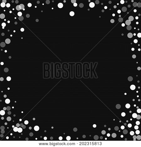 Falling White Dots. Corner Frame With Falling White Dots On Black Background. Vector Illustration.