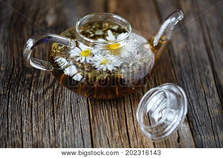 Camomile tea in glass kettle on table