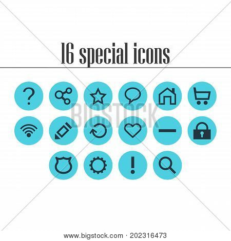 Editable Pack Of Shield, Renovate, Minus And Other Elements.  Vector Illustration Of 16 Member Icons.