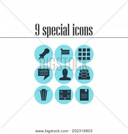 Editable Pack Of Bookmark, Maximize, Trash And Other Elements.  Vector Illustration Of 9 Online Icons.