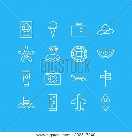 Editable Pack Of Cocktail, Longue, Certificate And Other Elements.  Vector Illustration Of 16 Summer Icons.