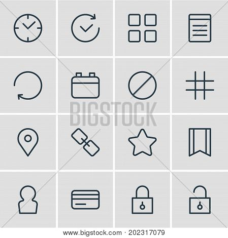 Editable Pack Of Clock, User, Pennant And Other Elements.  Vector Illustration Of 16 Annex Icons.