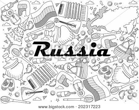 Russia coloring book line art design raster illustration. Separate objects. Hand drawn doodle design elements.