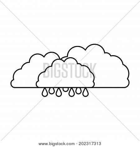 clouds with drizzle in sketch silhouette on white background vector illustration