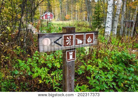 Information sign post in Finland during autumn