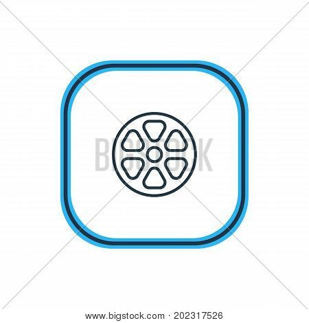 Beautiful Cinema Element Also Can Be Used As Movie Reel Element.  Vector Illustration Of Tape Outline.