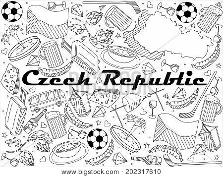Czech Republic coloring book line art design raster illustration. Separate objects. Hand drawn doodle design elements.
