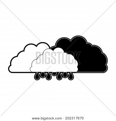 clouds with drizzle in black section silhouette on white background vector illustration