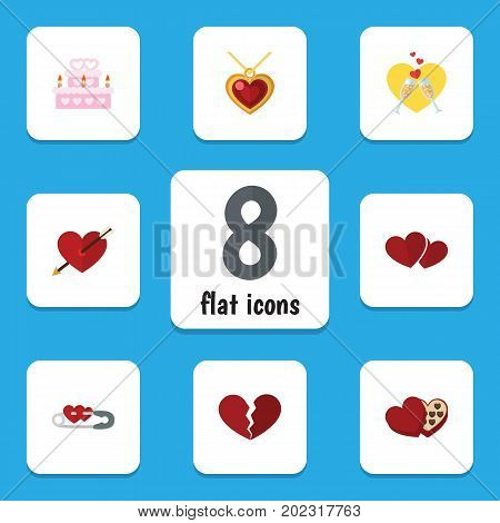 Flat Icon Amour Set Of Divorce, Heart, Patisserie And Other Vector Objects