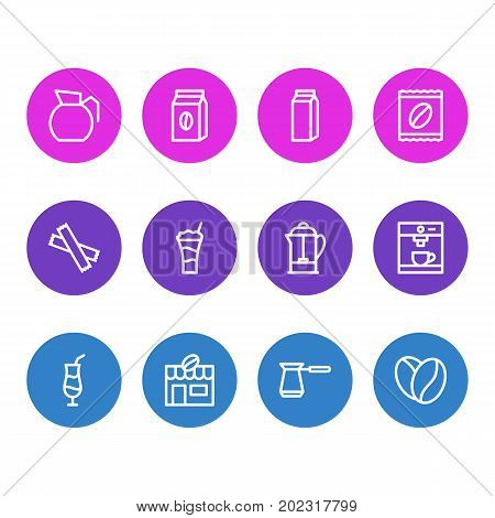 Editable Pack Of Seed, Turkish, Mocha And Other Elements.  Vector Illustration Of 12 Coffee Icons.