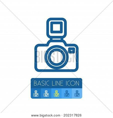 Photocamera Vector Element Can Be Used For Lens, Camera, Photography Design Concept.  Isolated Flash Outline.