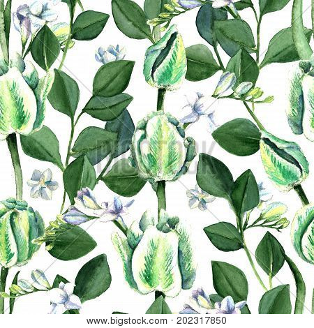 Watercolor hand drawn white and green parrot tulips, freesia, eucalyptus seamless pattern. Decorative floral composition for wedding design. Summer greenery freshness.
