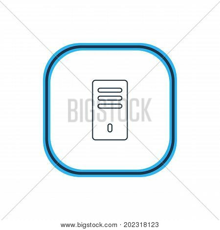 Beautiful Laptop Element Also Can Be Used As Mainframe  Element.  Vector Illustration Of System Unit Outline.