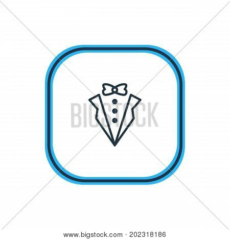 Beautiful Marriage Element Also Can Be Used As Bridegroom Dress Element.  Vector Illustration Of Groom Suit Outline.