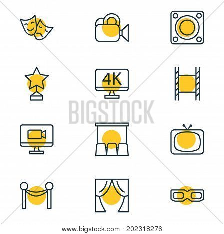 Editable Pack Of Spectacles, Reward, Theater And Other Elements.  Vector Illustration Of 12 Film Icons.