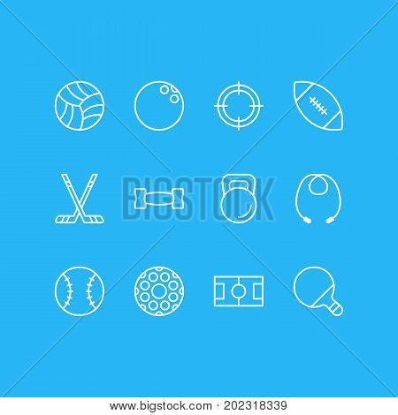 Editable Pack Of Kegling, Batting, Hockey And Other Elements.  Vector Illustration Of 12 Athletic Icons.