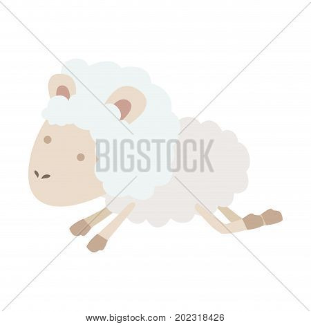 sheep animal jumping in colorful silhouette on white background vector illustration