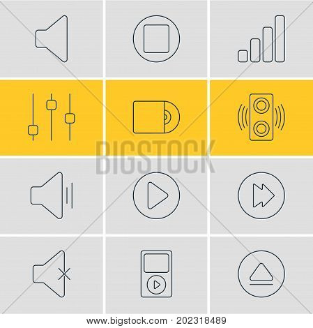 Editable Pack Of Speaker, Advanced, Audio And Other Elements.  Vector Illustration Of 12 Melody Icons.