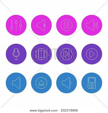 Editable Pack Of Stabilizer, Subsequent, Soundless And Other Elements.  Vector Illustration Of 12 Melody Icons.