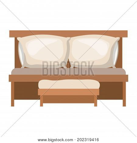 sofa bed with double pillows and wooden chair in colorful silhouette on white background vector illustration