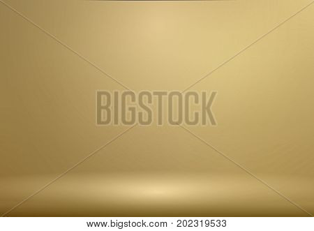 Luxury Gold Studio room background with Spotlights well use as Business backdrop Template mock up for display of product Vector illustration