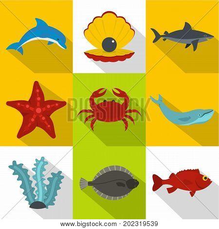 Ocean inhabitants icon set. Flat style set of 9 ocean inhabitants vector icons for web design