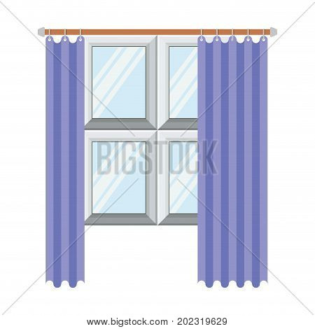 window in wooden with lilac curtain in colorful silhouette on white background vector illustration