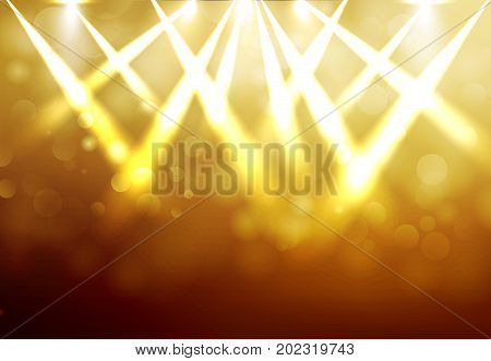 Shining Gold disco spotlights with blured bokeh on dark background. Vector illustration