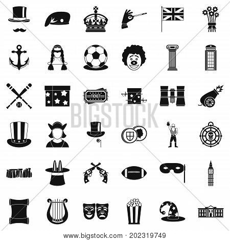 Top hat icons set. Simple style of 36 top hat vector icons for web isolated on white background