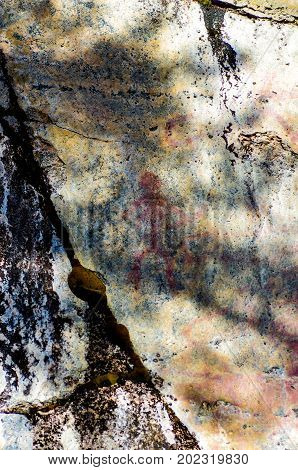 Historical petroglyph art drawings in Finland in protected area
