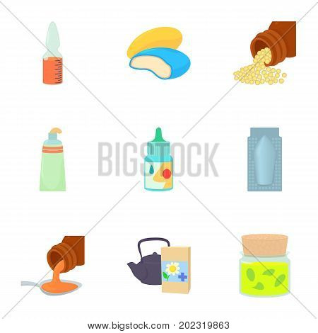 Pharmacy product icons set. Cartoon set of 9 pharmacy product vector icons for web isolated on white background
