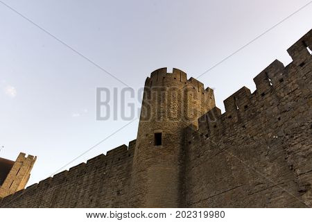 Castle of the city of Carcassonne and its surroundings in France
