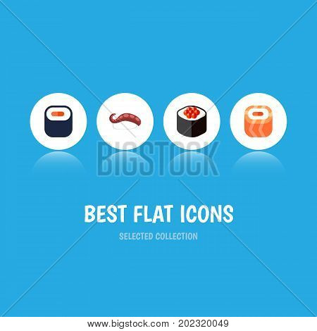Flat Icon Sashimi Set Of Maki, Oriental, Sashimi And Other Vector Objects