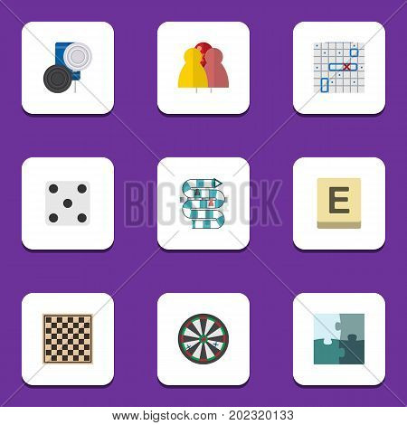 Flat Icon Games Set Of Chequer, Jigsaw, Chess Table And Other Vector Objects