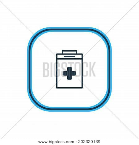 Beautiful Medical Element Also Can Be Used As Exigency Element.  Vector Illustration Of Medical Kit Outline.