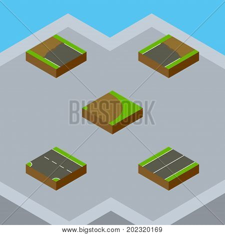Isometric Road Set Of Downward, Incomplete, Plane And Other Vector Objects