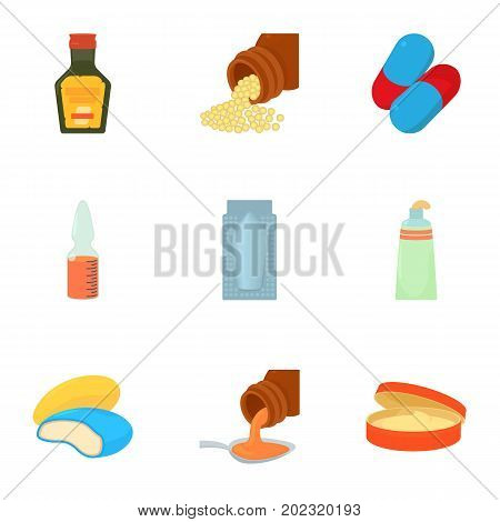 Medicament icons set. Cartoon set of 9 medicament vector icons for web isolated on white background