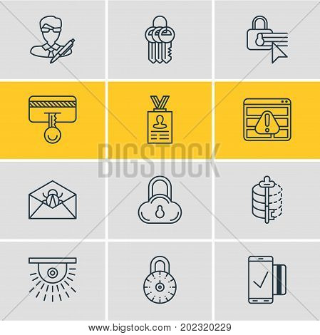 Editable Pack Of Confidentiality Options, Easy Payment, Safety Key And Other Elements.  Vector Illustration Of 12 Protection Icons.