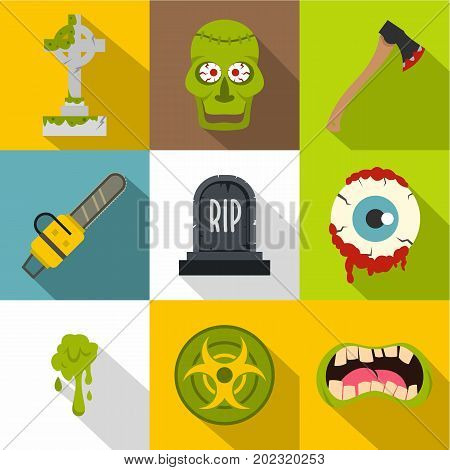 Zombie grave icon set. Flat style set of 9 zombie grave vector icons for web design
