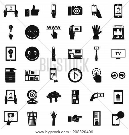 Gadget icons set. Simple style of 36 gadget vector icons for web isolated on white background