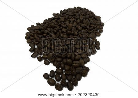 pile of dark roasted coffee bean isolated on white background.